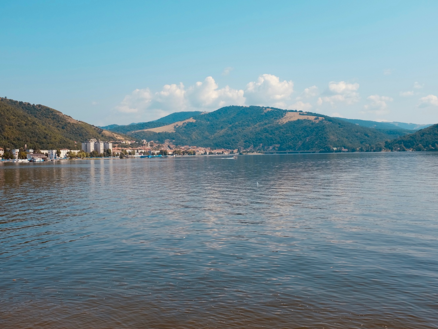A photo of the Danube in the Romanian port of Orșova, on one of the most dramatic stretches of the river called the