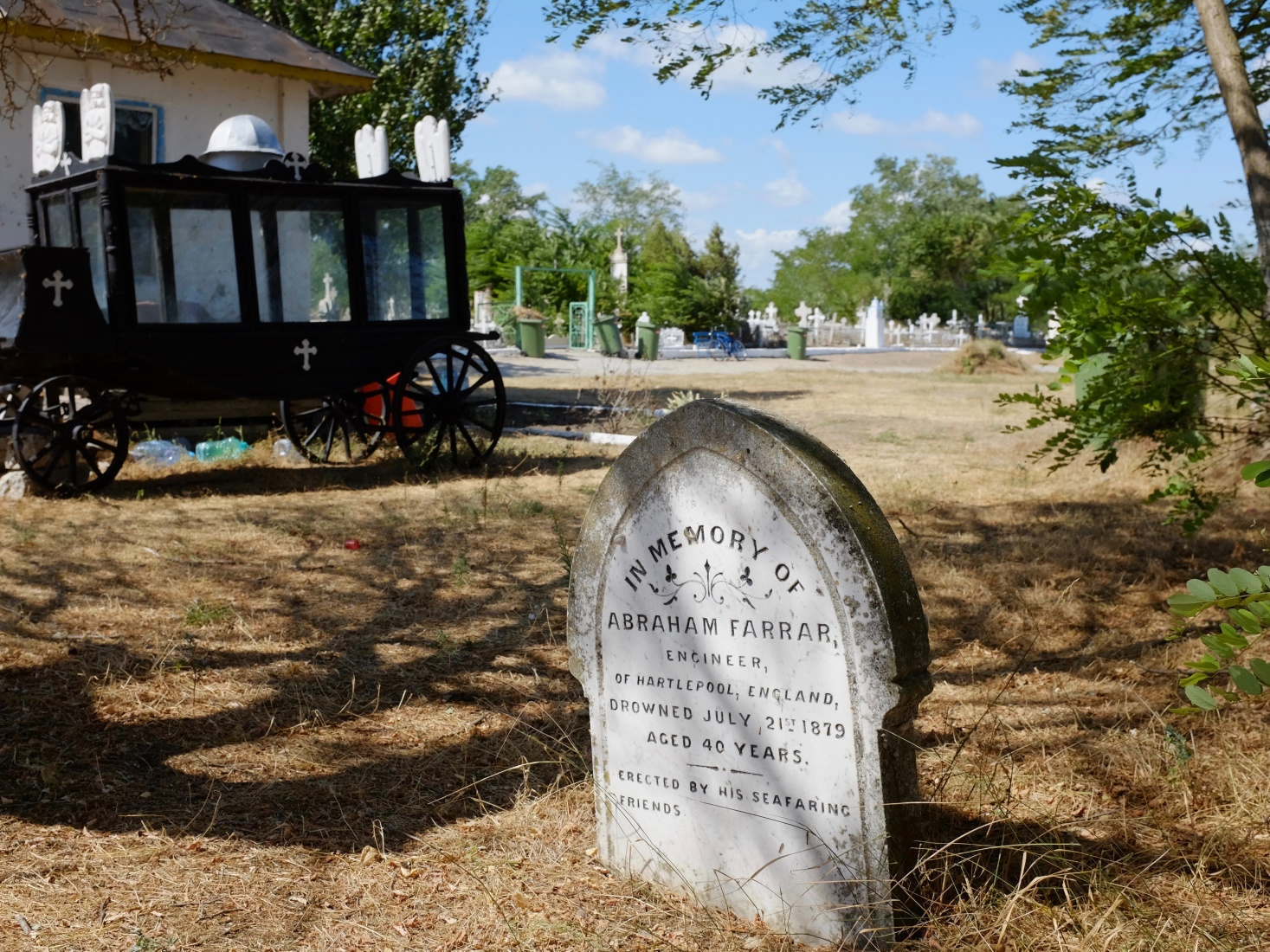 The gravemarker of Abraham Farrar of Hartlepool, England. One of several British subjects buried at Sulina, Romania.
