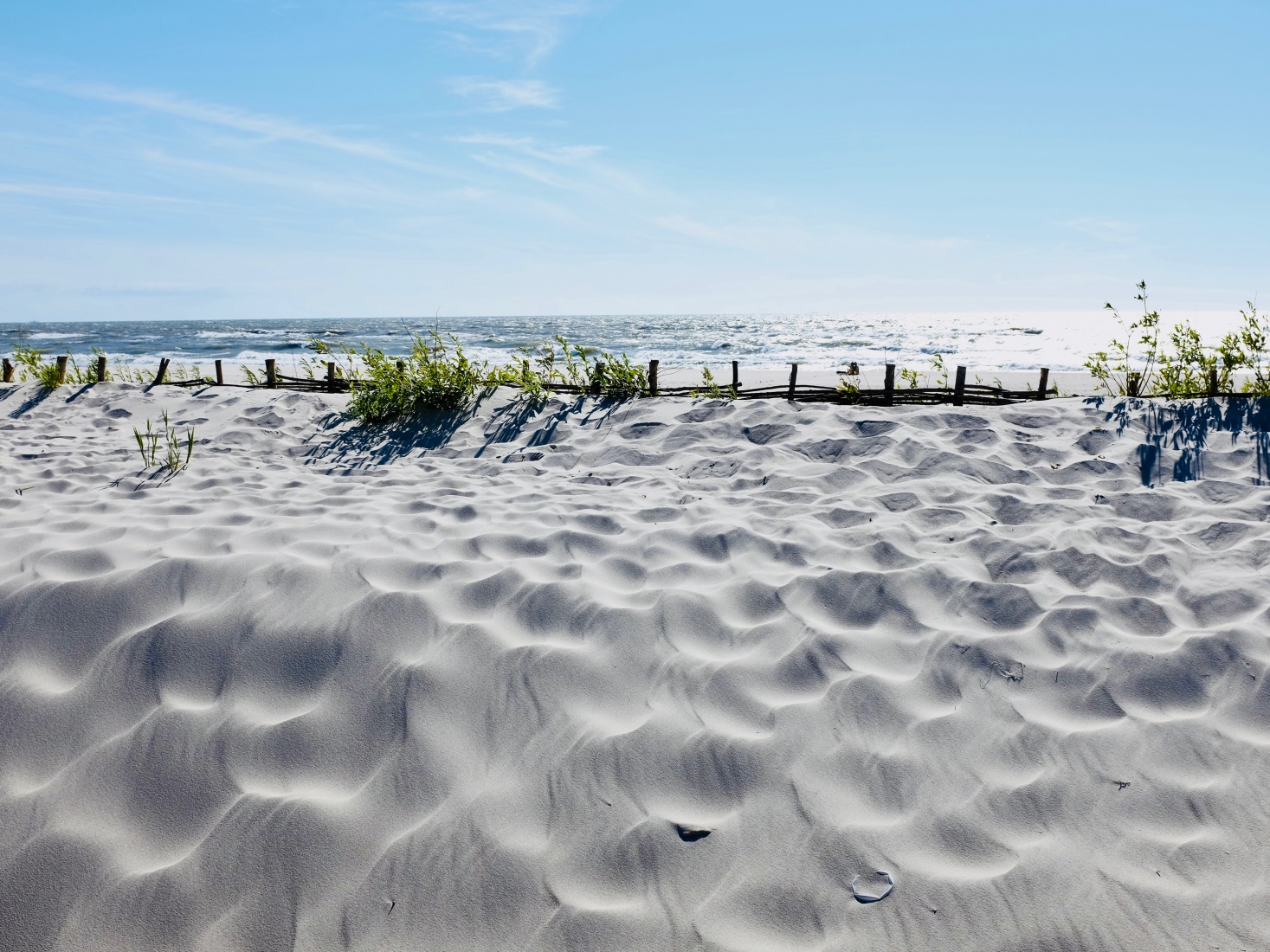 Beautiful white sand beach in Yantarny, outside Kaliningrad, Russia.