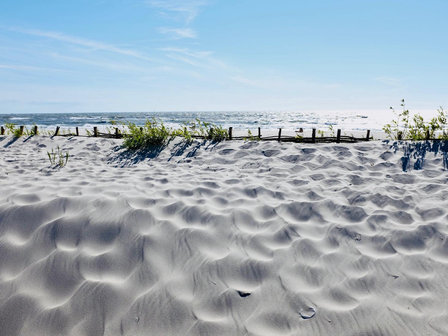 Beautiful white sand beach in Yantarny, outside Kaliningrad, Russia.