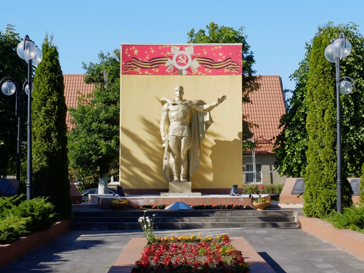 Soviet war memorial near the center of town in Yantarny, near Kaliningrad, Russia.