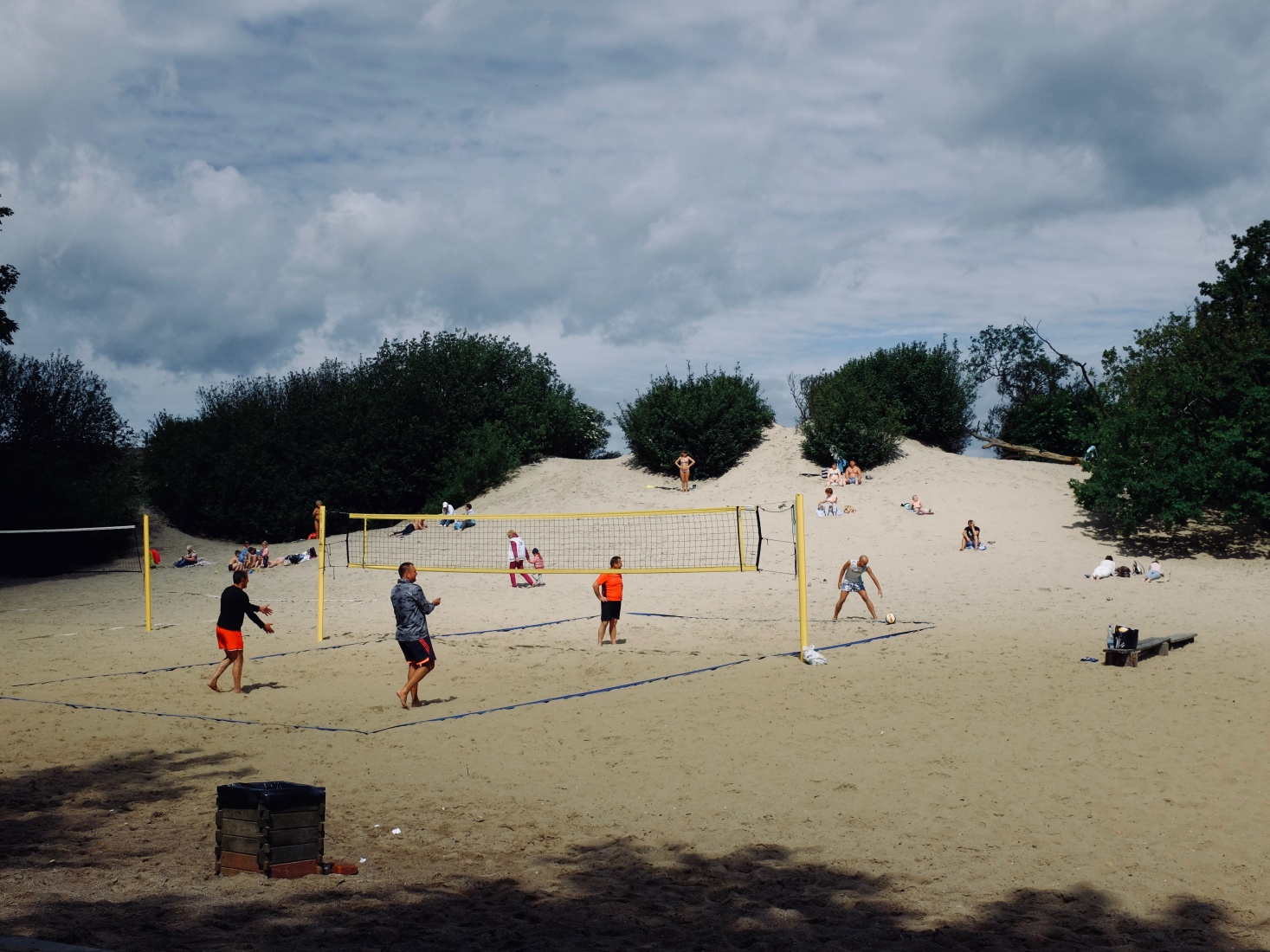 Locals playing volleyball in a park on a sand dune in Zelenogradsk, near Kaliningrad, Russia.