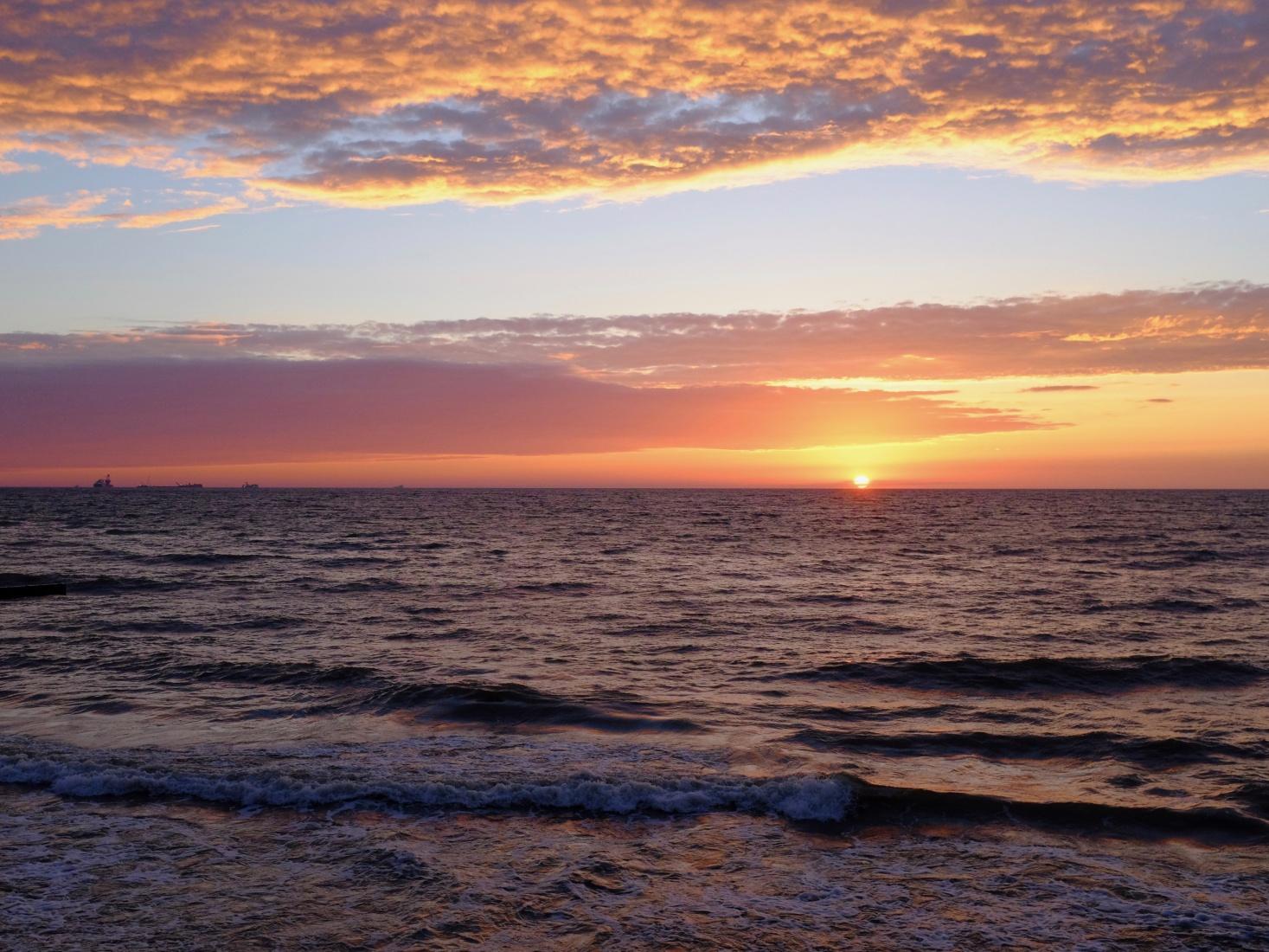 Sunset over the ocean in Zelenogradsk, near Kaliningrad, Russia.