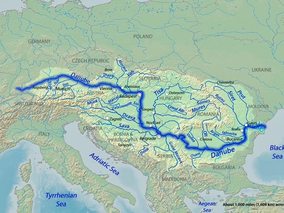 Map of Europe with the Danube, Europe's second-longest river after the Volga, highlighted in dark blue.