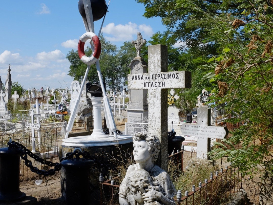 Several gravemarkers in Sulina's cemetery, Romania, show the former predominance of Greek sailors and merchants in the old town.