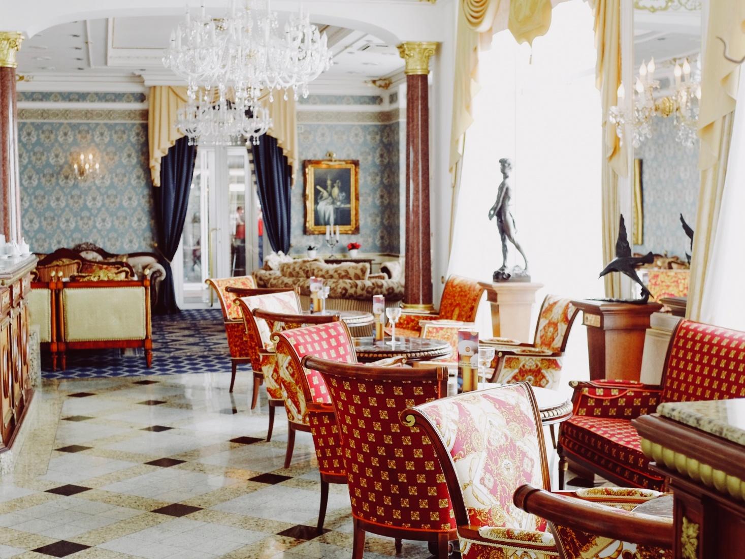 A lavish dining room in a restaurant, hotel complex on the shore of Svetlogorsk, outside Kaliningrad, Russia.