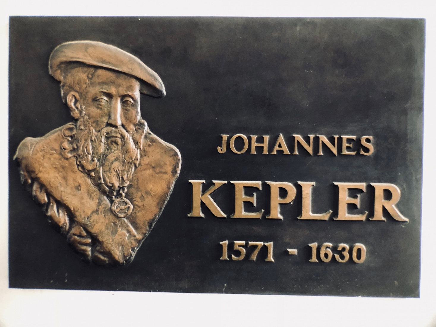 A wall marker at Kepler's former Prague Old Town apartment at Karlova 8.