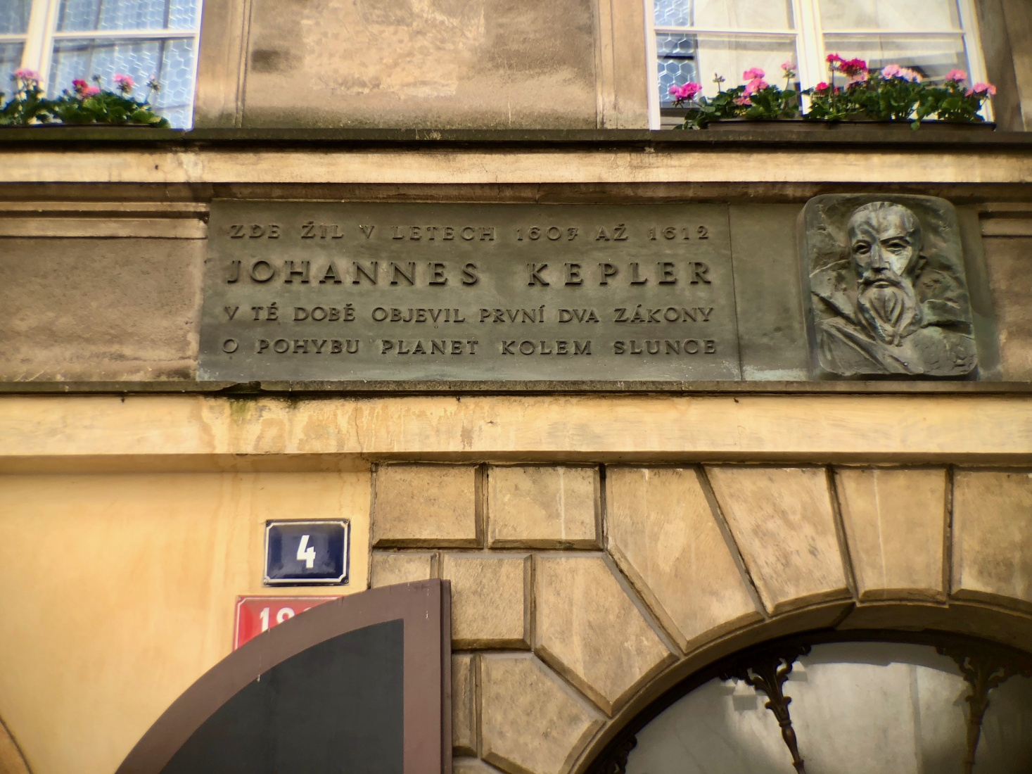 The relief on the front of the house at Karlova 4 in Prague's Old Town marks the spot where Johannes Kepler lived from 1607-1612.