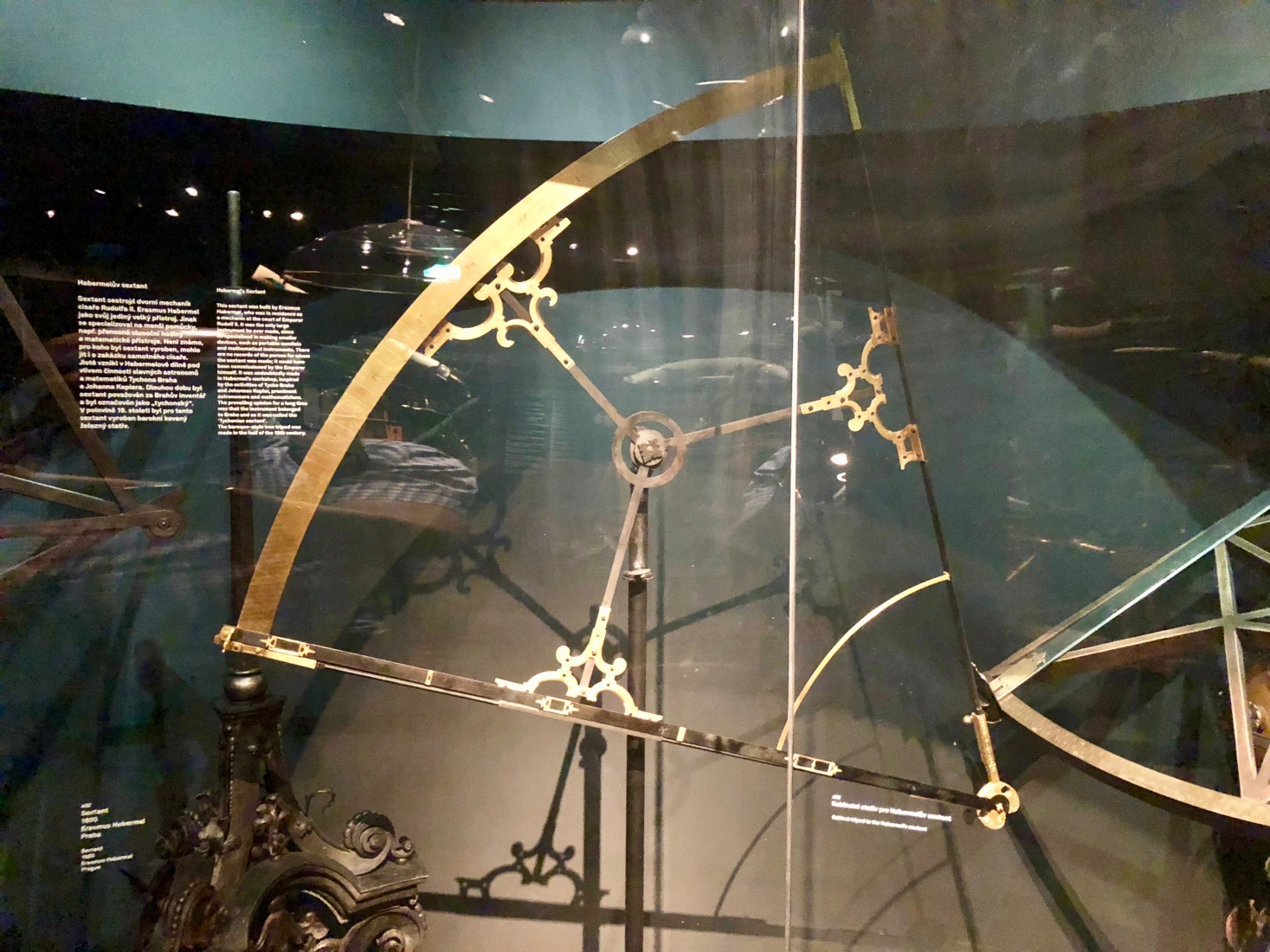 A large sextant built by engineer Erasmus Habermehl in the late 16th century on the order of Emperor Rudolf II, which may have been used by Tycho Brahe, is on display at Prague's National Technical Museum.