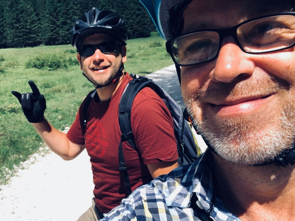 Mark Baker on the right, guide (and friend) Domen from Bled's 3glav Adventures, Slovenia, on the left.