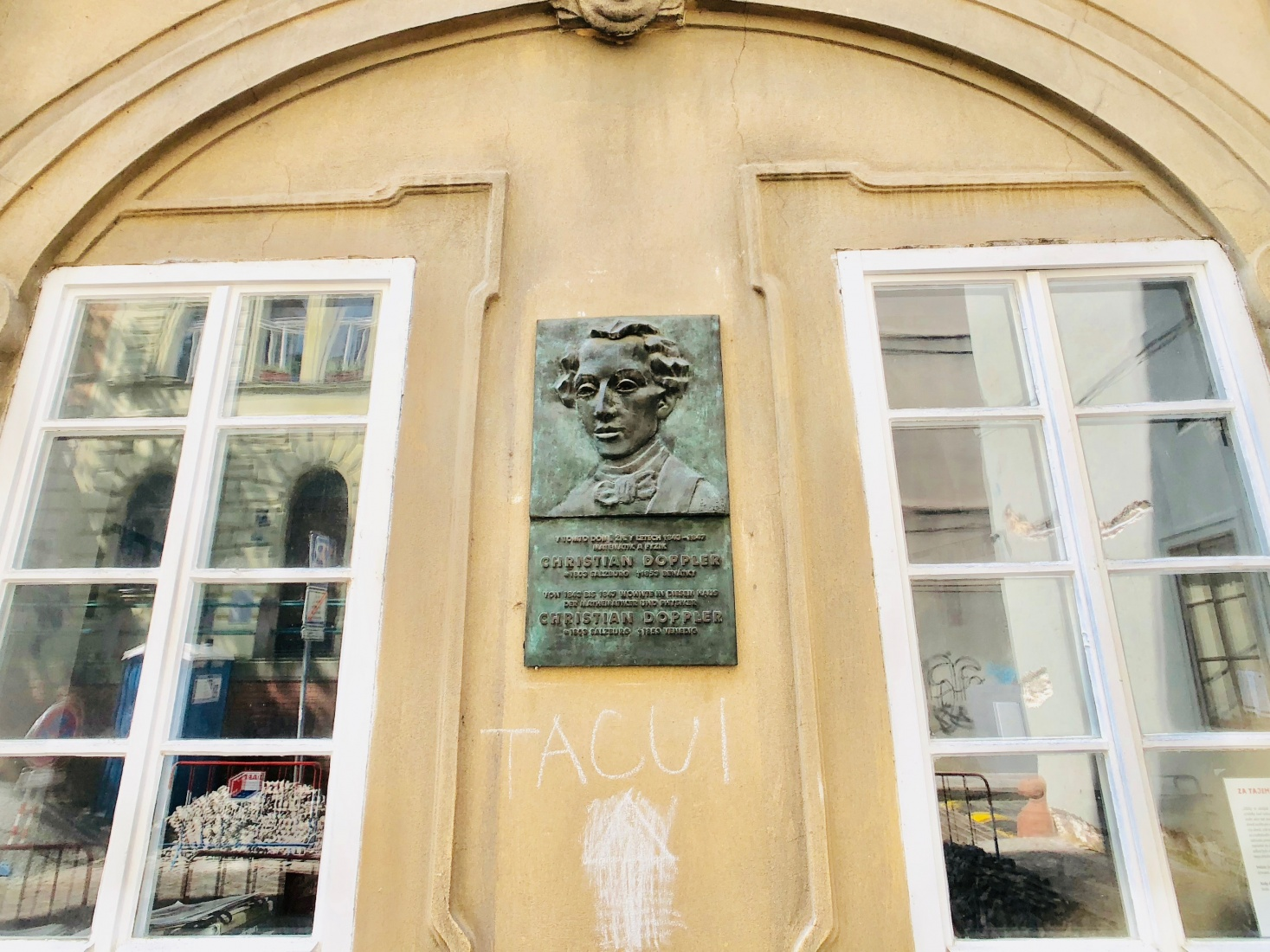 The plaque on the former home of Austrian mathematician and astronomer Christian Doppler.
