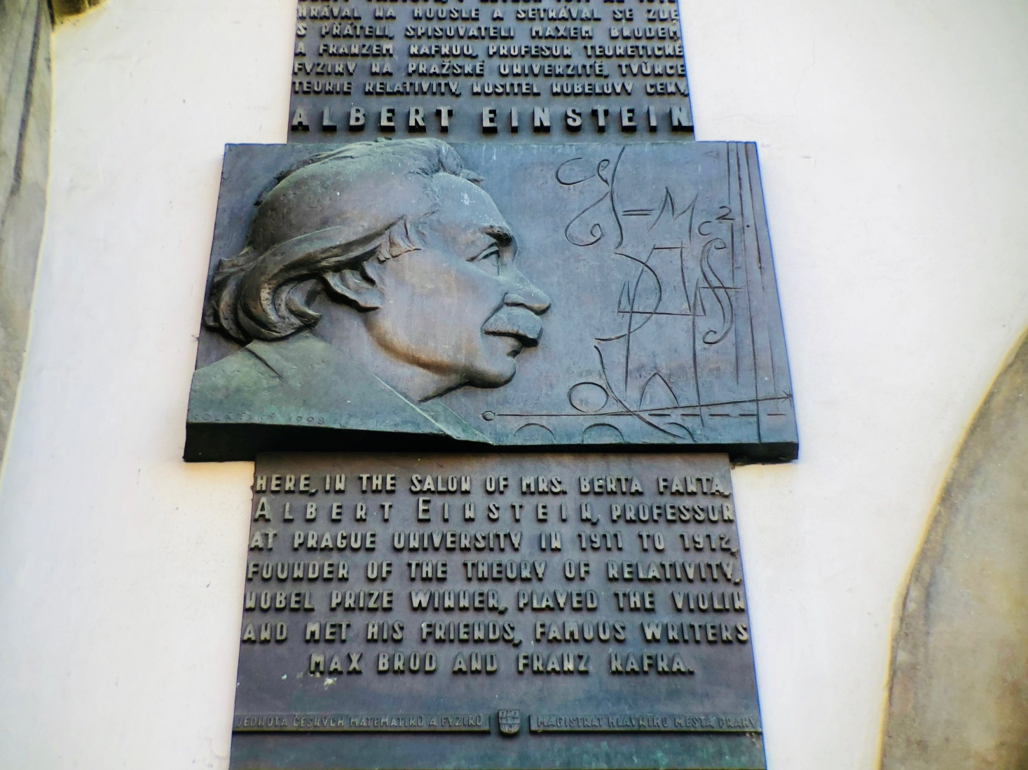 A memorial plaque to Einstein's stay in Prague is on Old Town Square. Photo by Mark Baker.