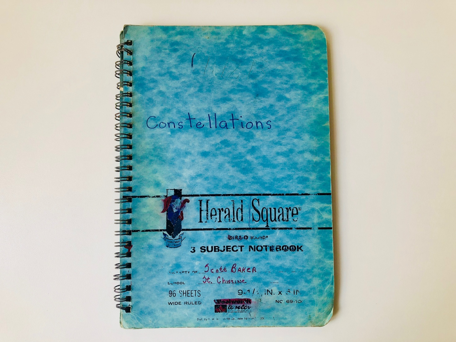 The front cover of the notebook Mark Baker and his brother filled out with their astronomical observations in a short-lived attempt to write a book on the 88 constellations in the sky.