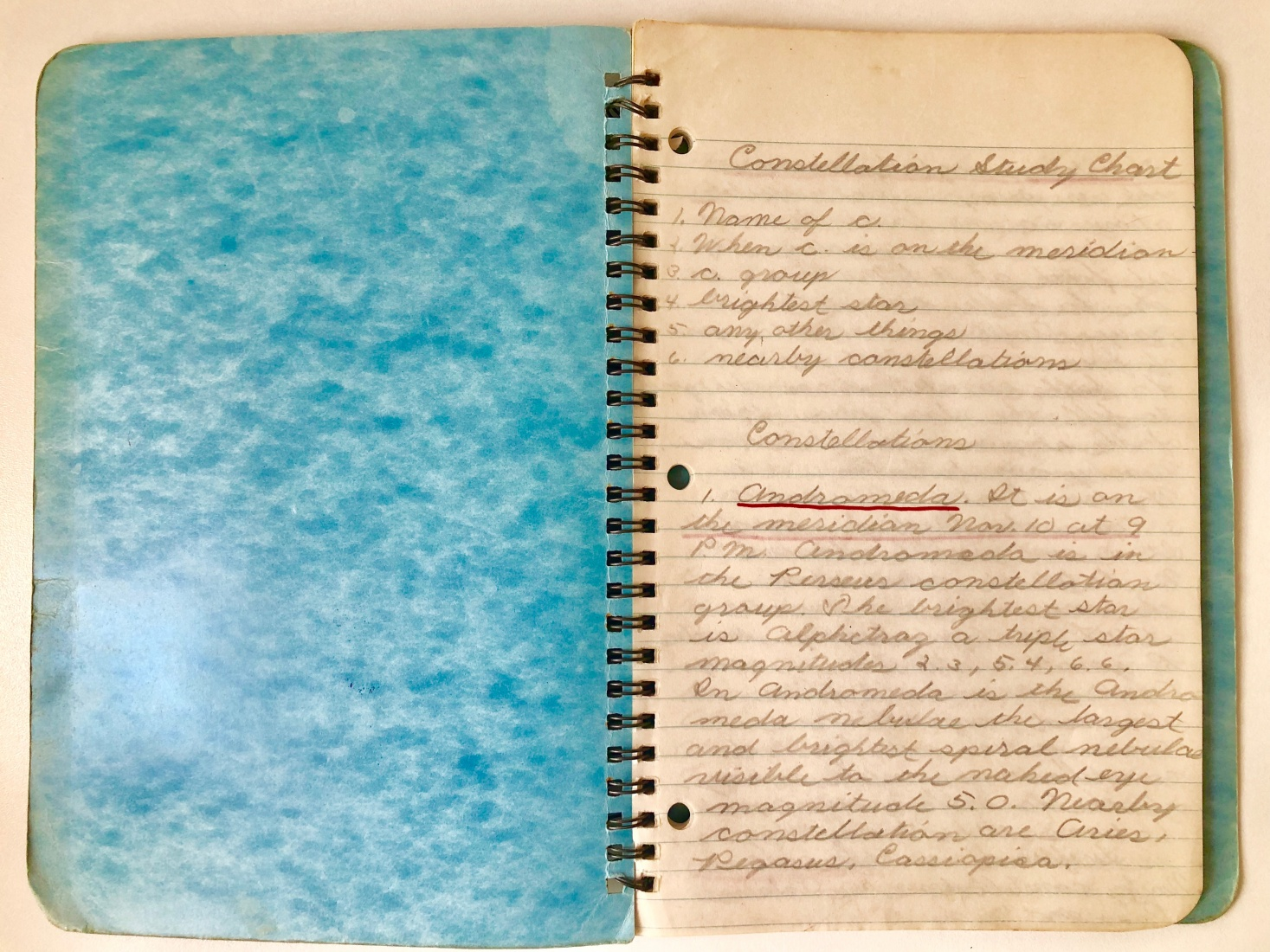 The first page of the book on astronomy Mark and his brother were hoping to write at 12 years old. The top of the page clearly shows the methodology.