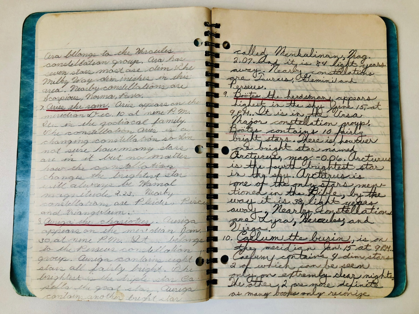 More pages from Mark Baker and his brother's notebook from when they were trying to write a book about constellations.