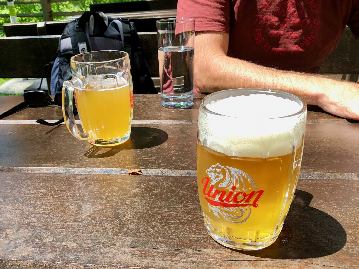 Mugs of Union beer at lunch at a beautiful inn and farmhouse,