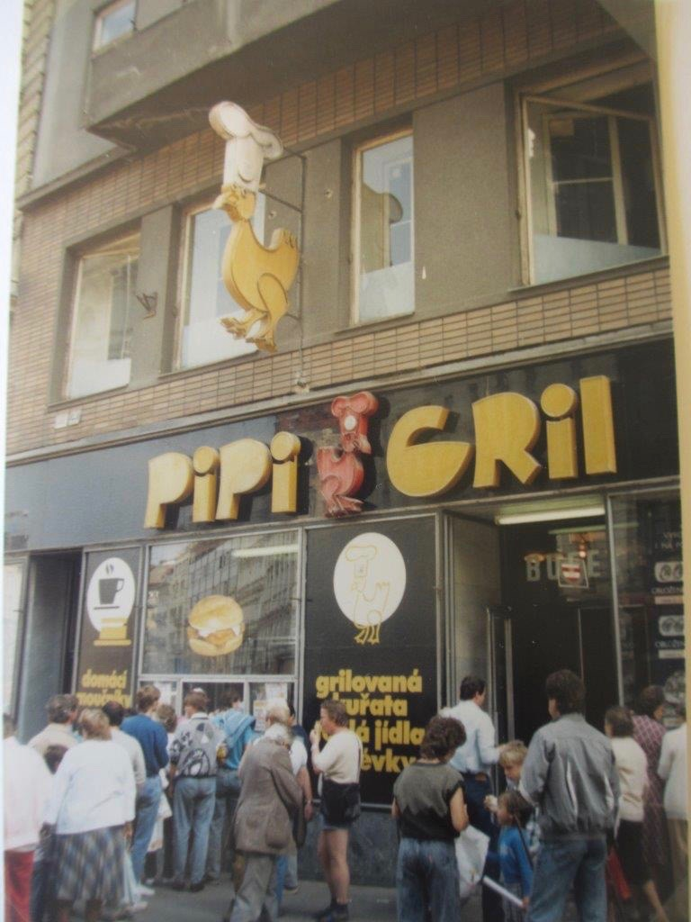 A grilled chicken window on Brno's central Náměstí Svobody that was one of the better food options in 1988 - but is long gone today. Brno, Czech Republic.