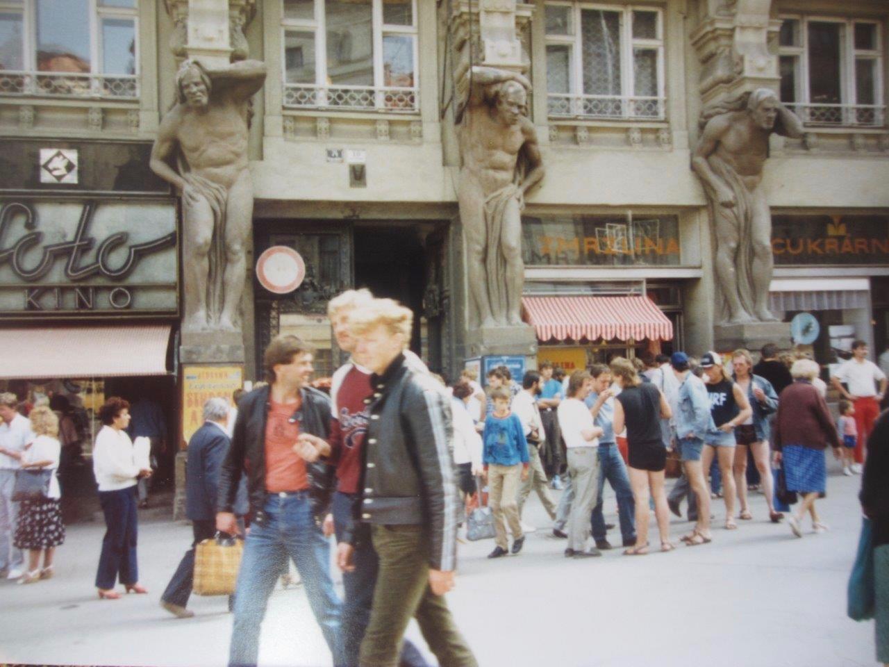 Street scene from central Brno, Czech Republic, in August 1988.