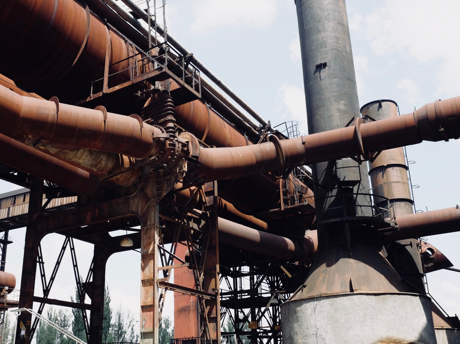 Close up on the pipes of Dolni Vitkovice steelworks, outside the main door to the Gong conference center, in Ostrava, Czech Republic.