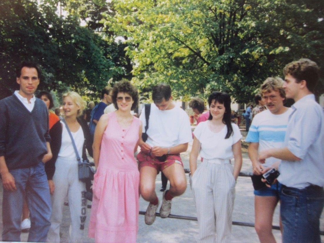 Mark Baker and other English-speaking classmates at Summer School in Brno, Czech Republic, Summer of 1988