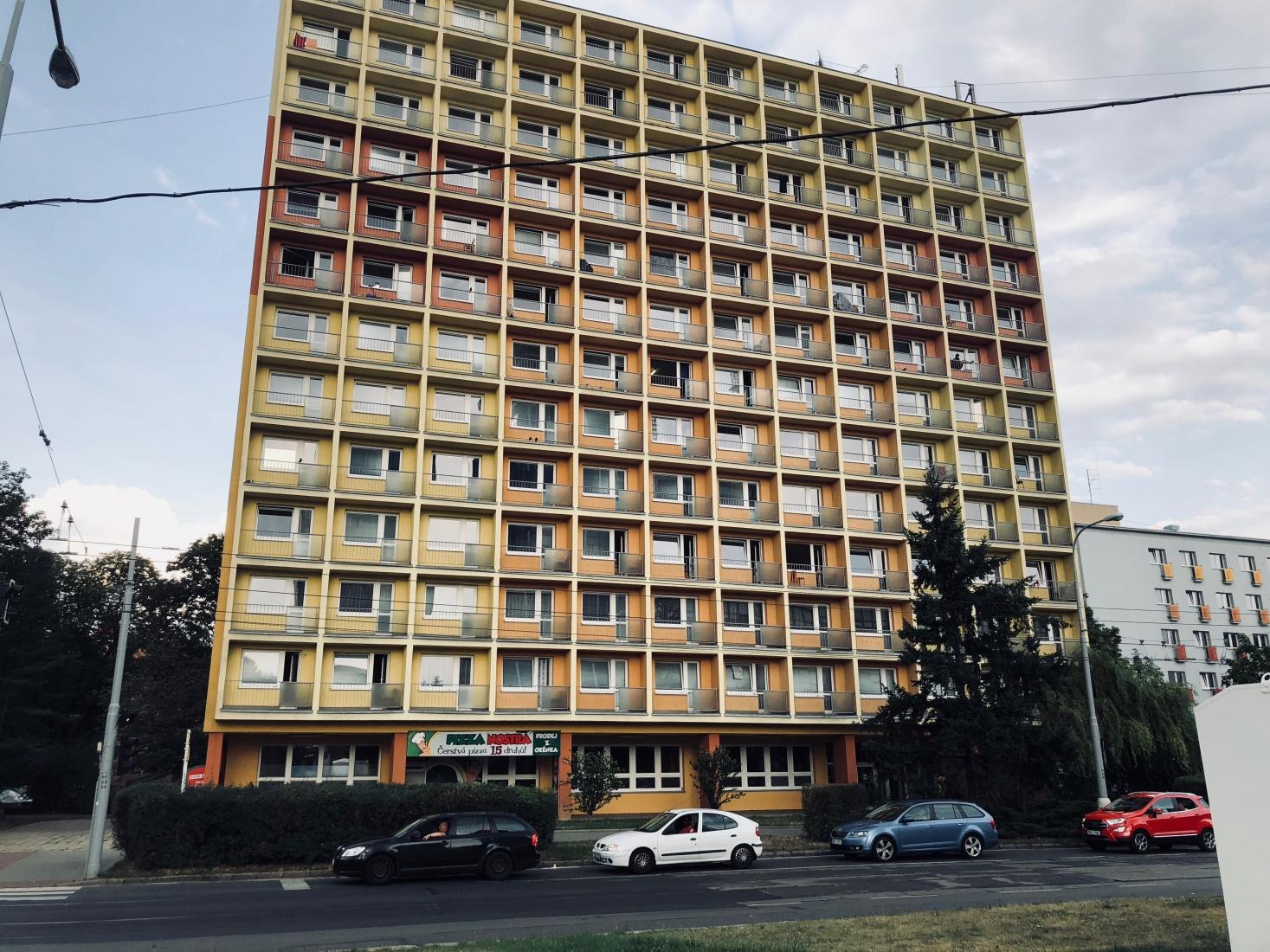An old dorm building, the Družba, now renamed Kounicova, in July 2018, in Brno, Czech Republic.