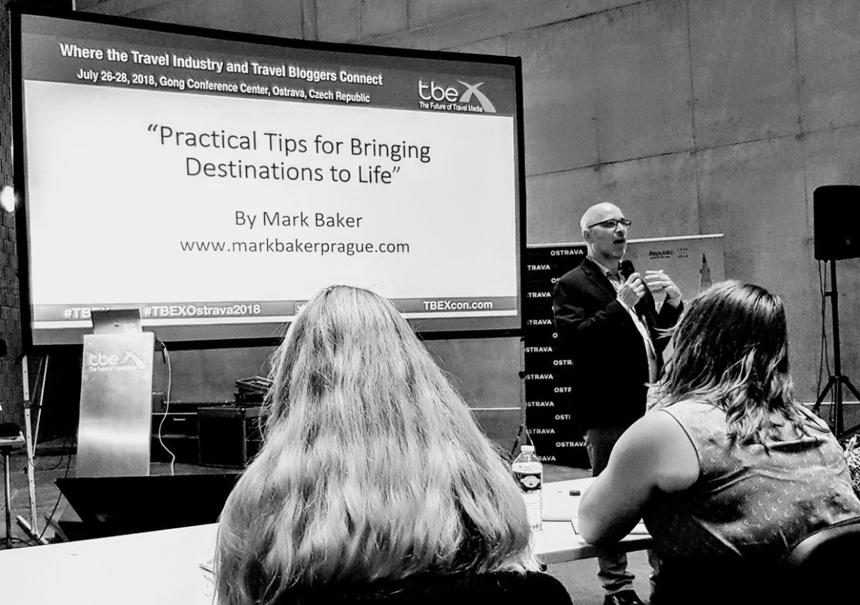 Mark Baker giving his talk, Practical Tips for Bringing Destinations to Life, at the TBEX Europe 2018 conference in Ostrava, Czech Republic.