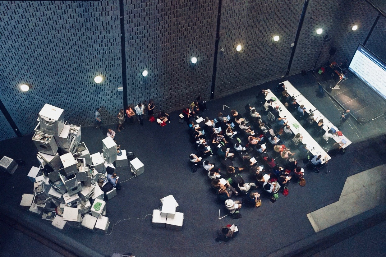 An aerial view of the room in which Mark gave his TBEX Europe 2018 presentation, in Ostrava, Czech Republic.