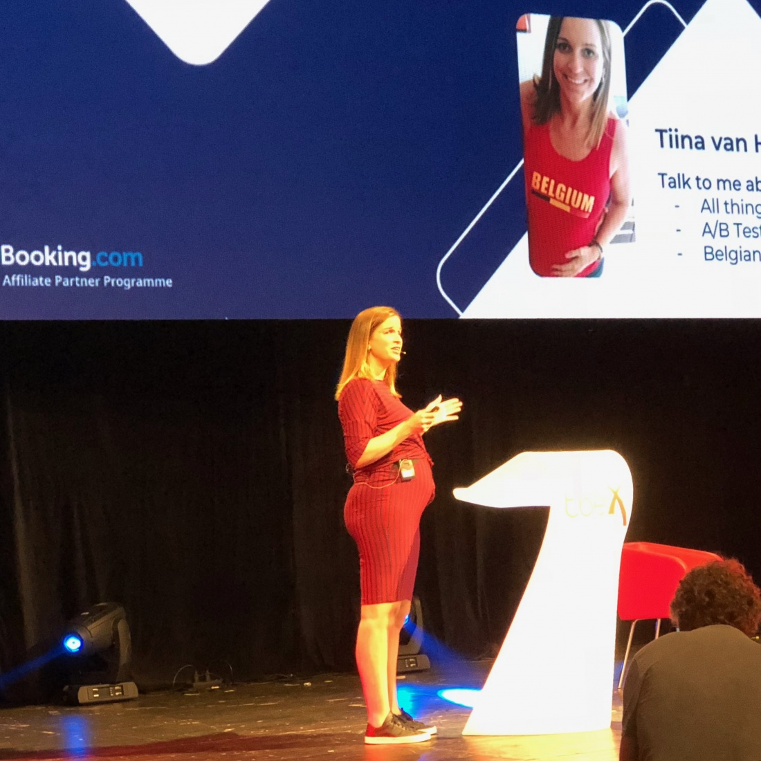 Tiina Van Hecke from Booking.com gives the keynote presentation on world travel trends at TBEX Europe 2018 presentation, in Ostrava, Czech Republic.