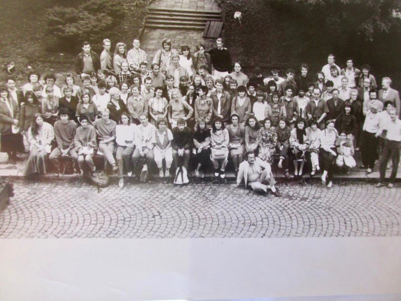 Mark Baker's Brno summer-school class of 1988, with his friend Katrin, in Brno, Czech Republic.