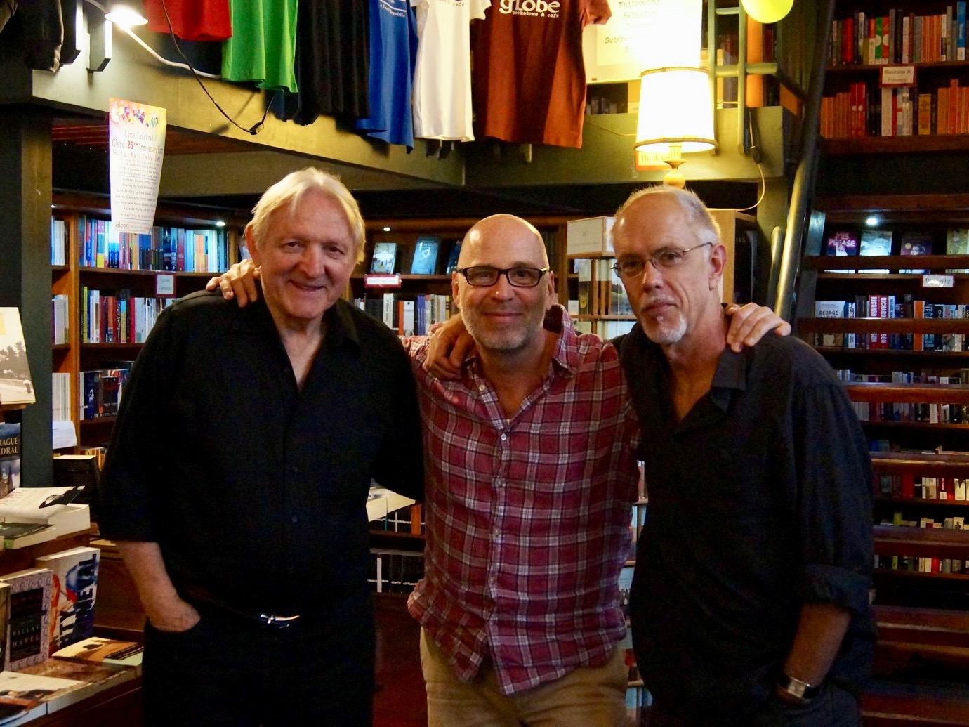 The 25th anniversary party, with James Ragan, Mark Baker, and Mark Slouka, in The Globe Bookstore and Coffeehouse, in Prague, Czech Republic.