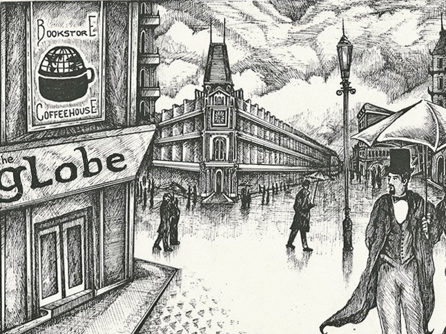 A beautiful, whimsical postcard by Adam Trachtman, featuring the Globe Bookstore in Holešovice in Prague, Czech Republic.