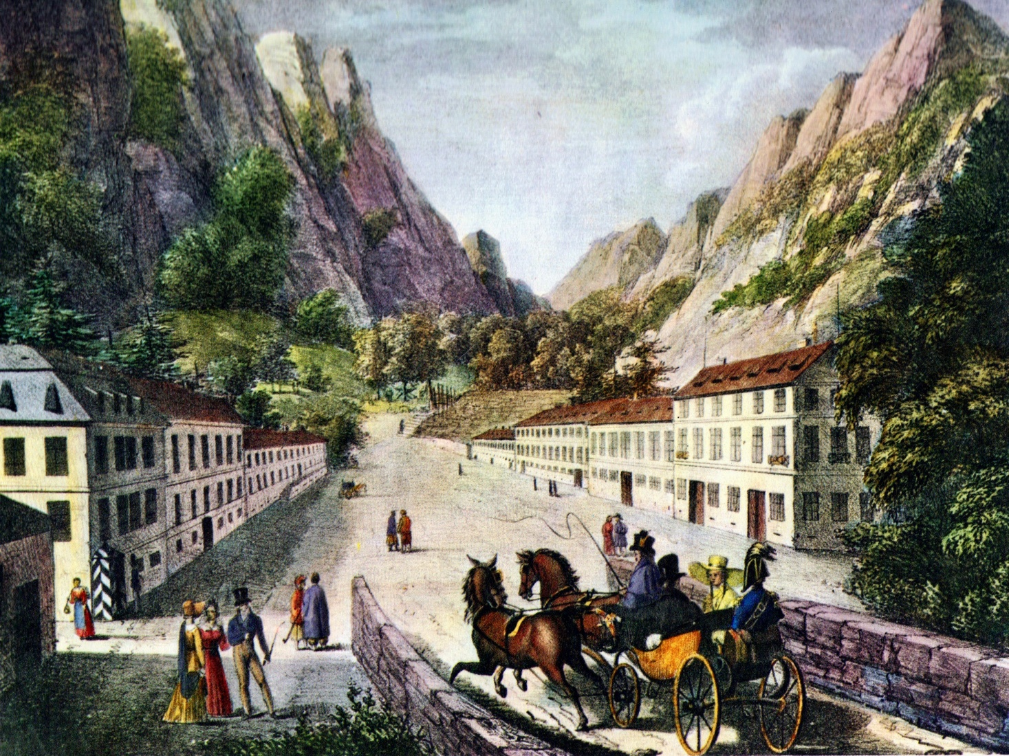 Deutschland und die Welt, by Adolph Kunike, a painting of the Baths of Hercules in Brașov, Romania, painted in 1824.