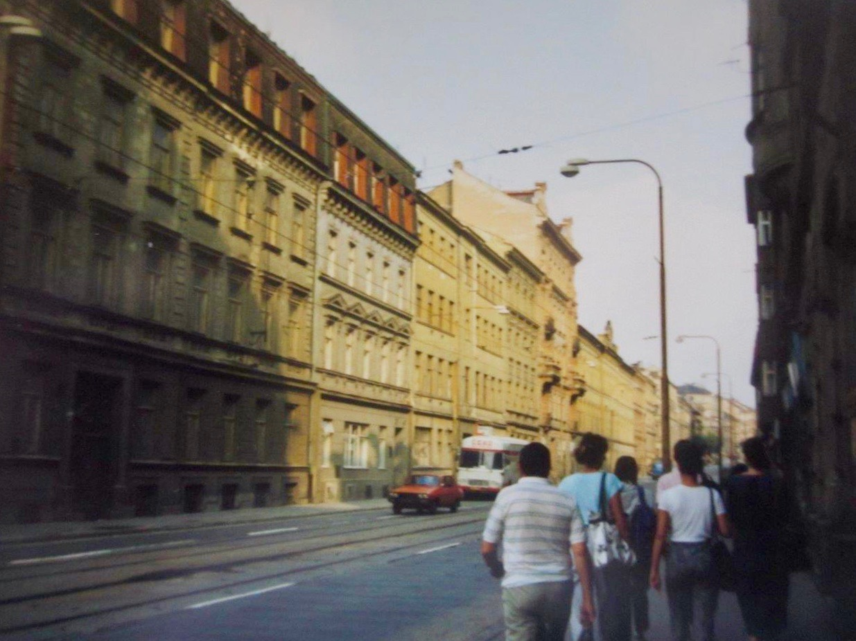 Walking to or from class along the street in Brno, Czech Republic, in August 1988.