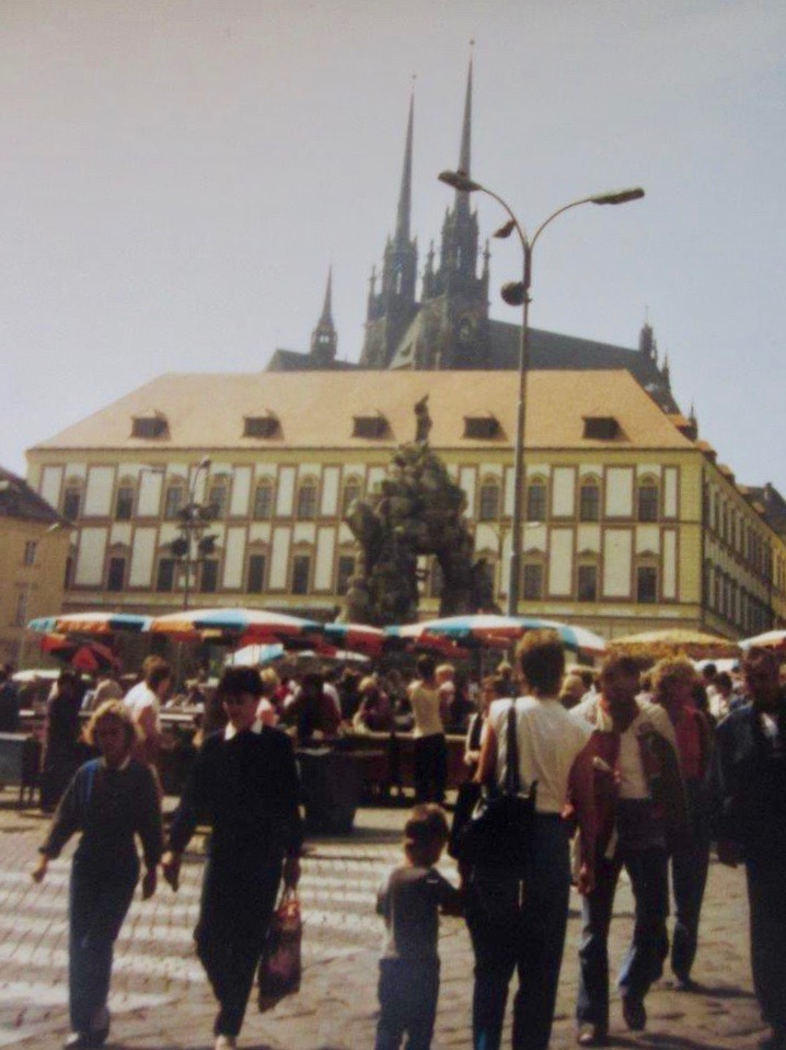 View of the Cabbage Market in central Brno in August 1988.