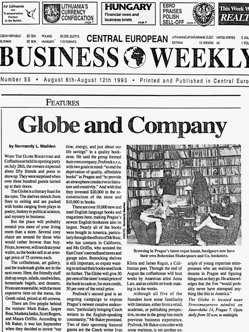 The front cover of the Central European Business Weekly from August 1993, reporting that The Globe Bookstore in Prague, Czech Republic, expected 50 guests at their opening event and ended up with 300.