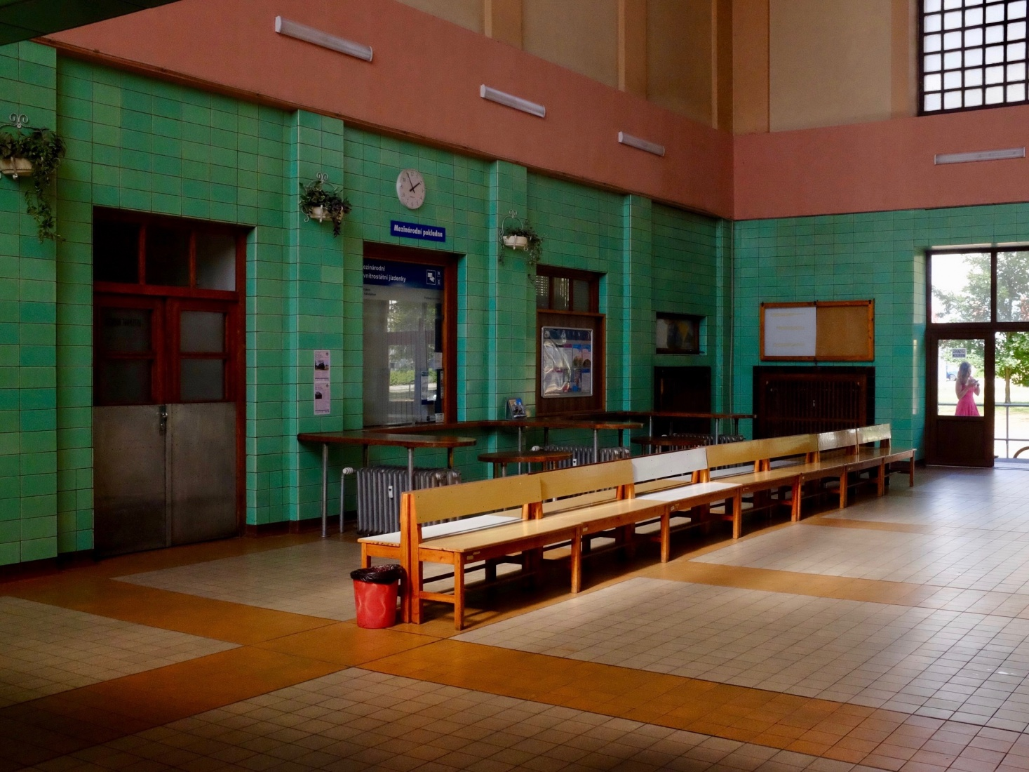 Interior of the train station at České Velenice, Czech Republic, rebuilt in the Socialist-Realist style post WWII.