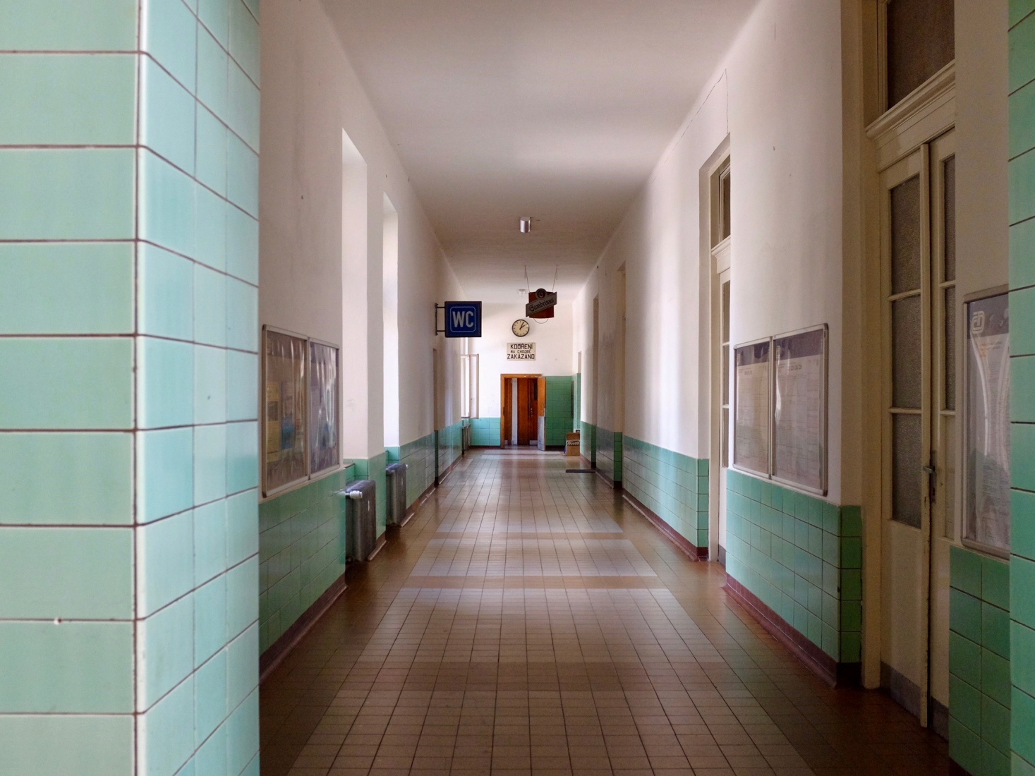 A long corridor at the České Velenice, railroad station, in the Czech Republic.