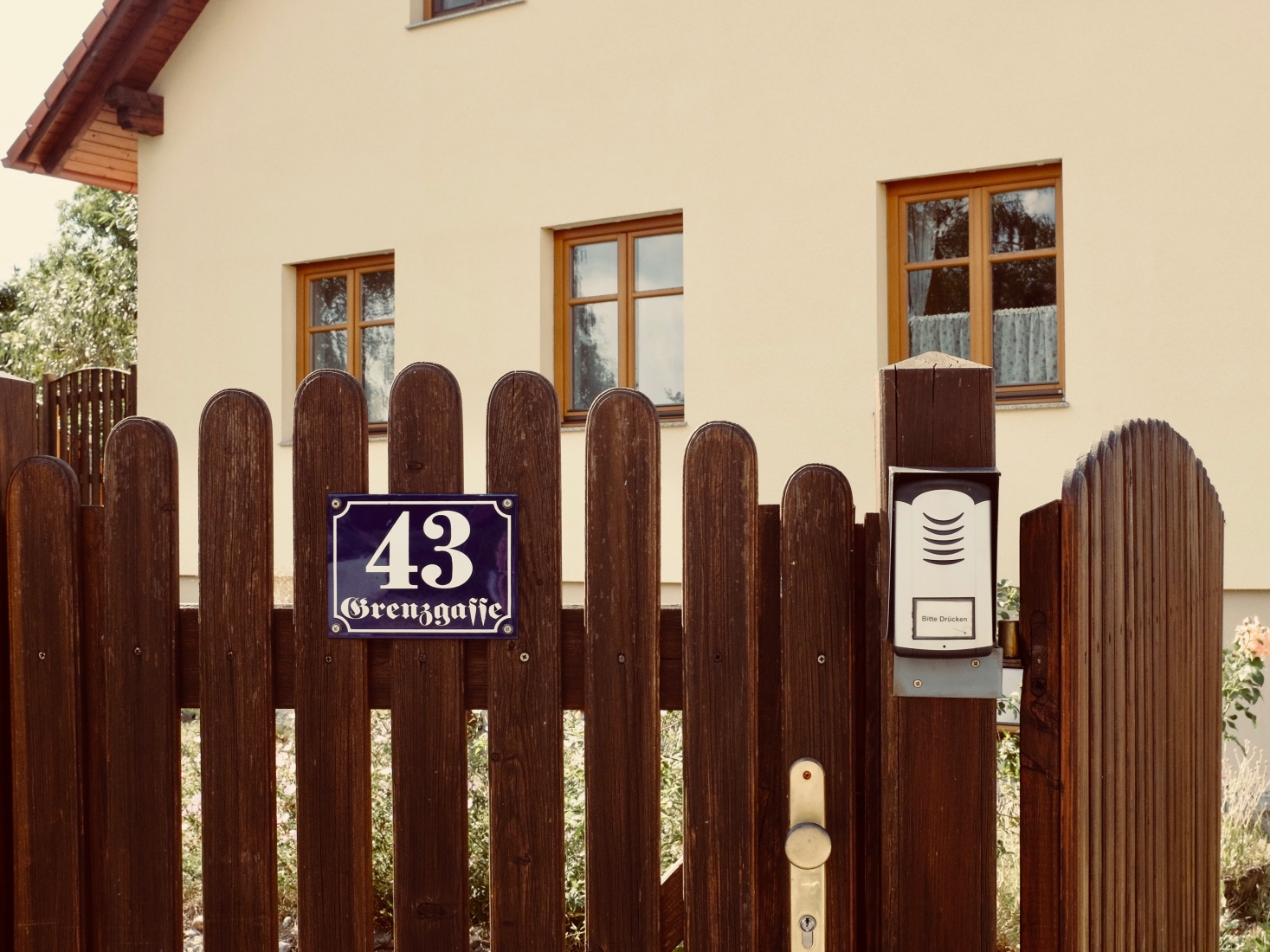 A house sign on a street where the old border used to be, on Grenzgasse - Border Street - in Gmünd, Austria.