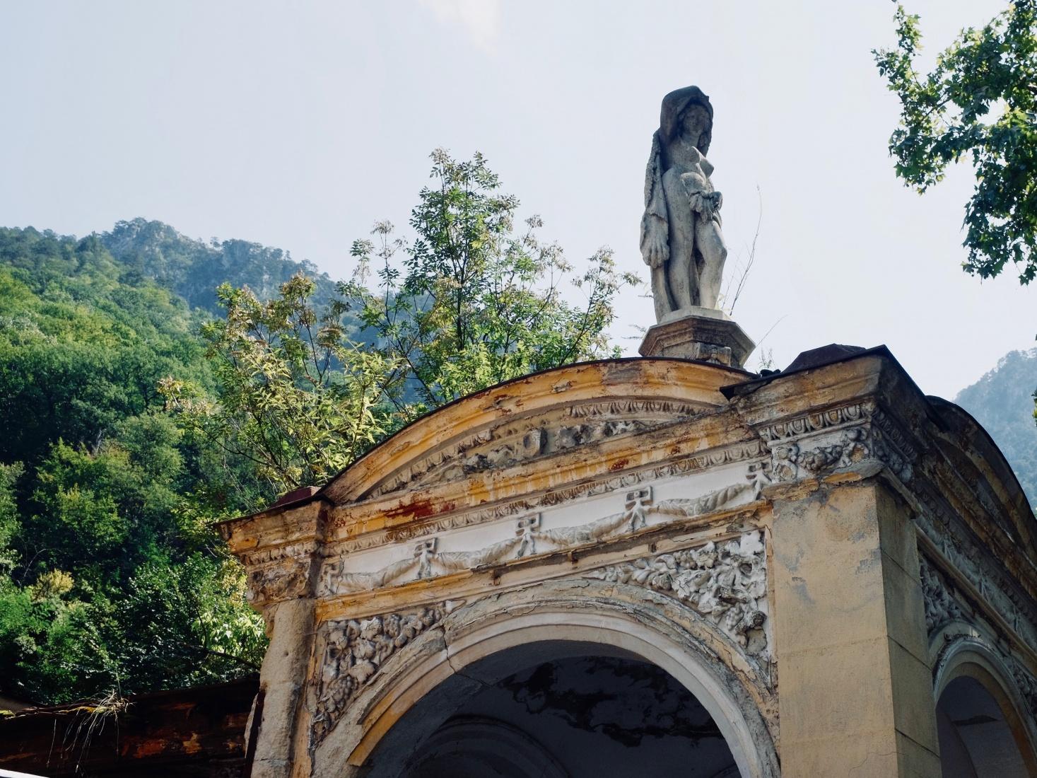 Decrepit buildings of the once pristine Baths of Hercules in Brașov, Romania.