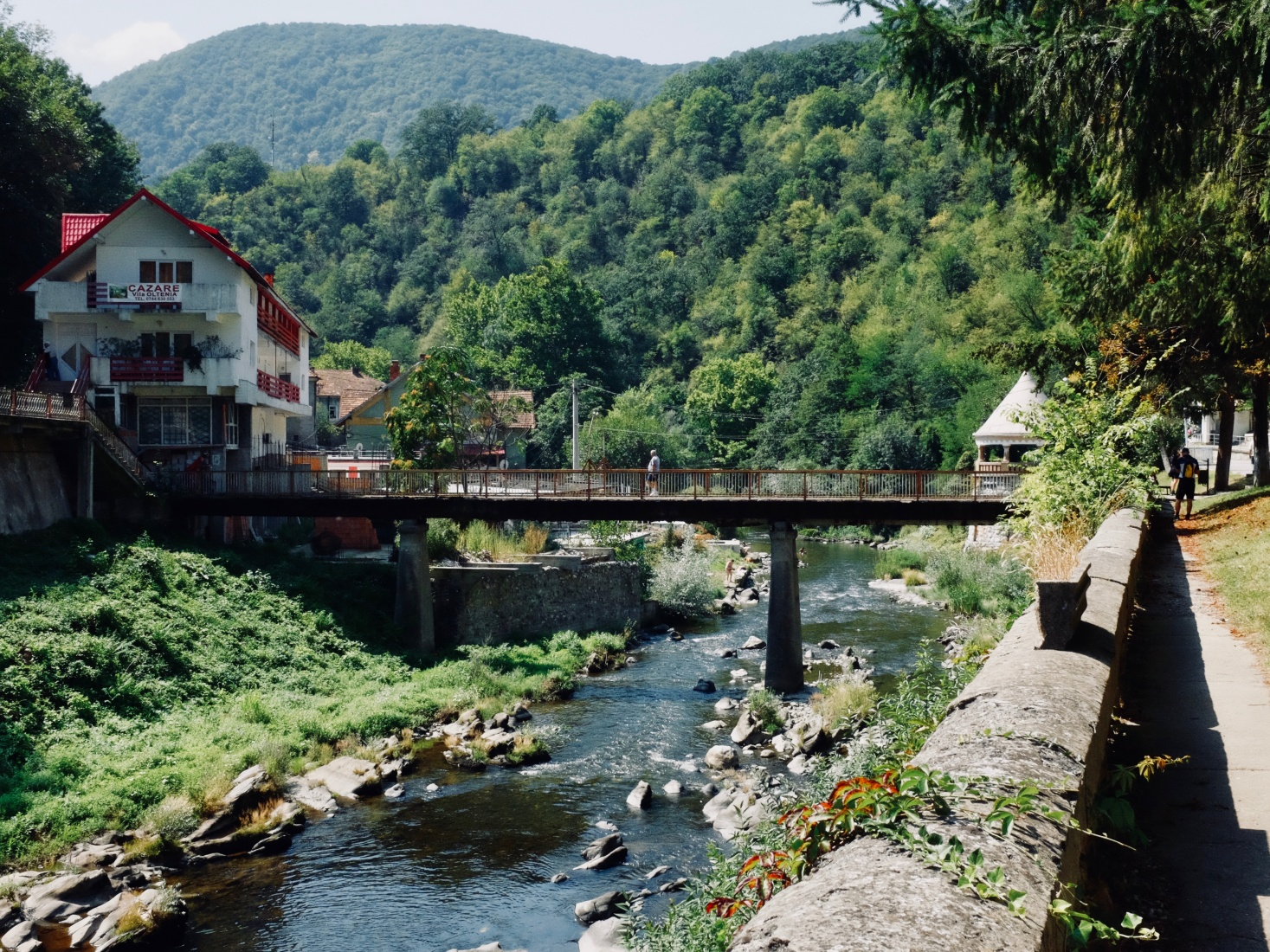 The view toward the Cerna River as it flow to the Baths of Hercules in Brașov, Romania.