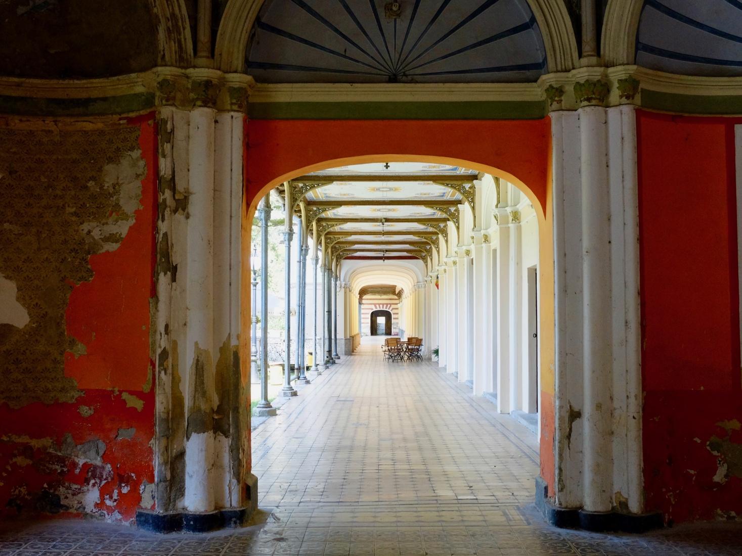 Neo-Baroque arcades around the exterior of the former casino in Brașov, Romania.