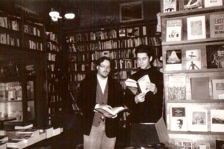Bookstore manager Rob M (right) and Sean, in The Globe Bookstore in Prague, Czech Republic.