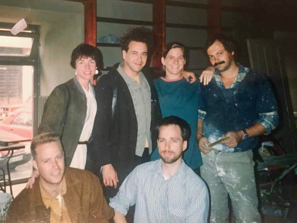 A partner photo from one of the earliest days: From left to right: Jasper, Maura, Scott, Markéta and 'Milan' (the guy who painted the exterior of the store); Mark in the middle. In Prague, Czech Republic.