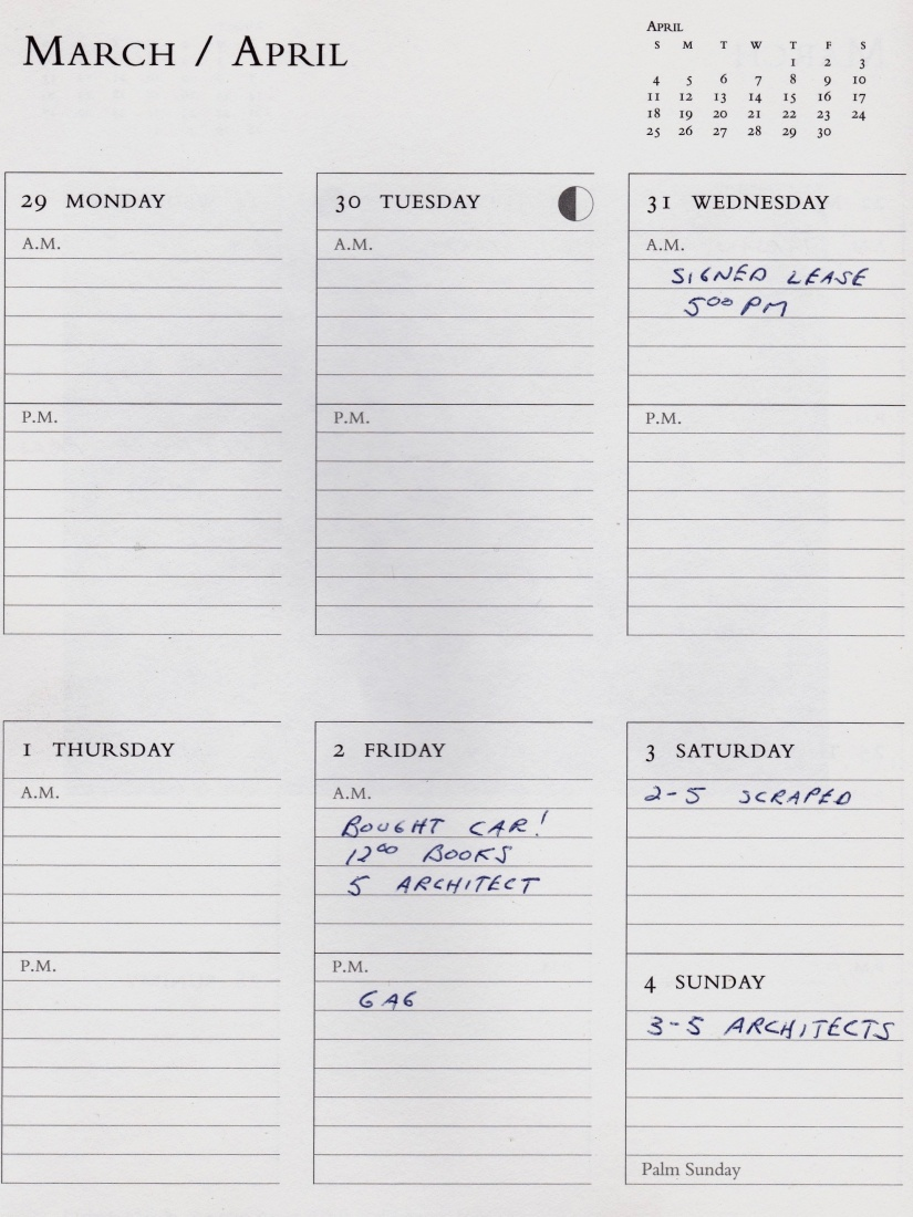 Mark Baker's calendar and diary from March 1993, detailing signing the lease on The Globe Bookstore and Coffeehouse in Prague on March 31, 1993.
