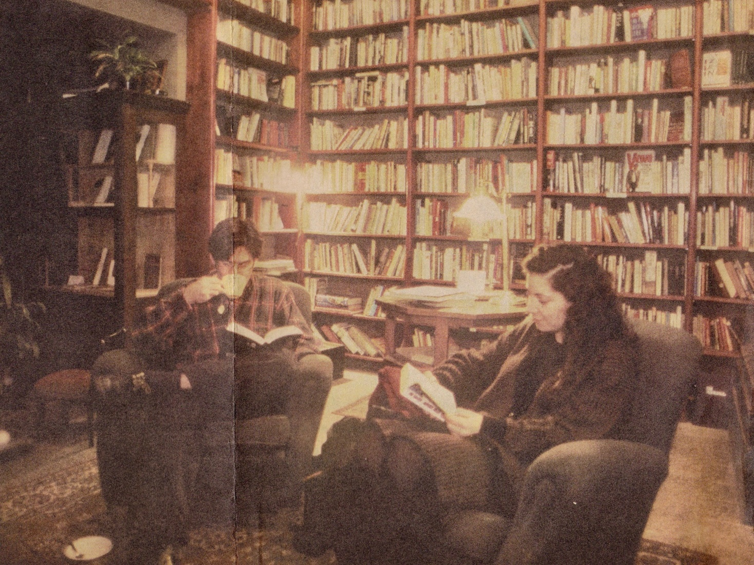 A photo from one of the many newspaper and magazine articles from 1993 and '94 documenting the rise of thousands of 'YAPs' - Young Americans in Prague - a reader in the Globe Bookstore in Prague, Czech Republic.