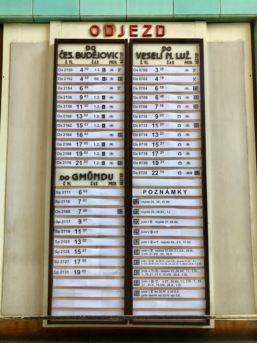 The minimal train schedule at the station in České Velenice, Czech Republic.