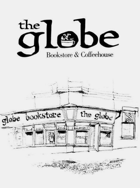An early sketch of the outside of The Globe Bookstore and Coffeehouse in Prague, Czech Republic, showing off Doug Arellanes's logo with the coffee cup in the 'o'.