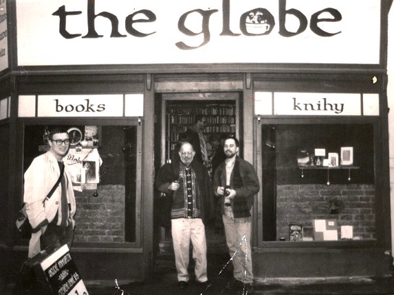 Allen Ginsberg and Mark Baker in front of The Globe bookshop in Holešovice, Prague, Czech Republic.