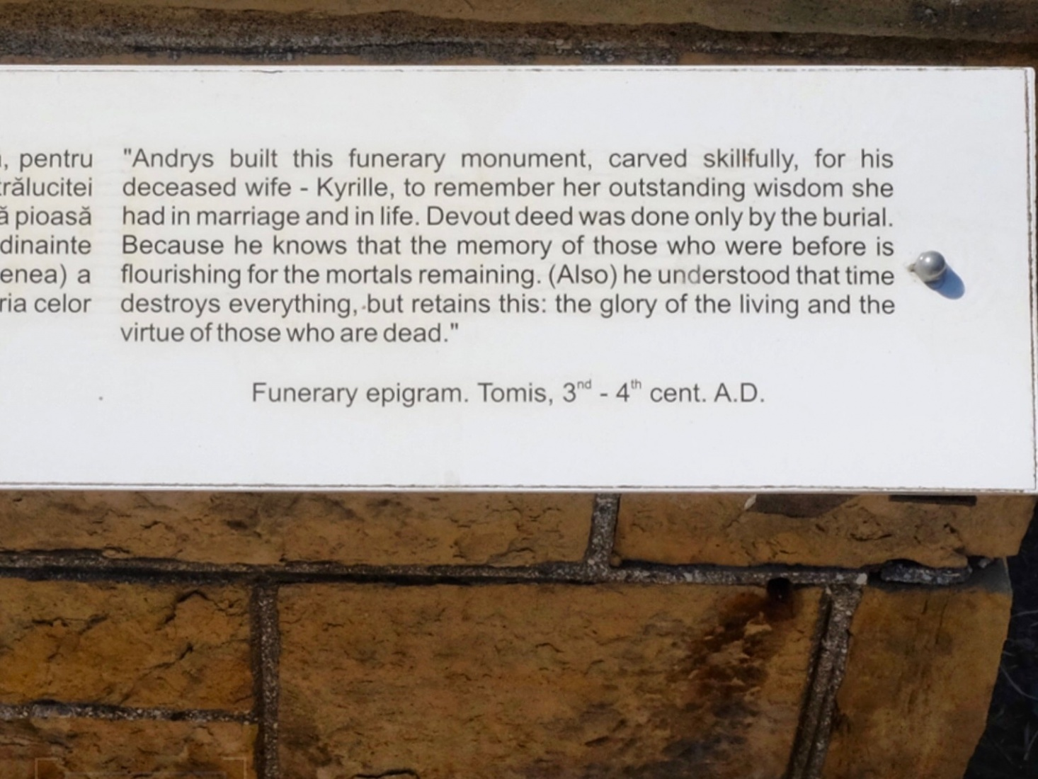 English translation of an epigram on a Roman tombstone in Constanța, Romania.