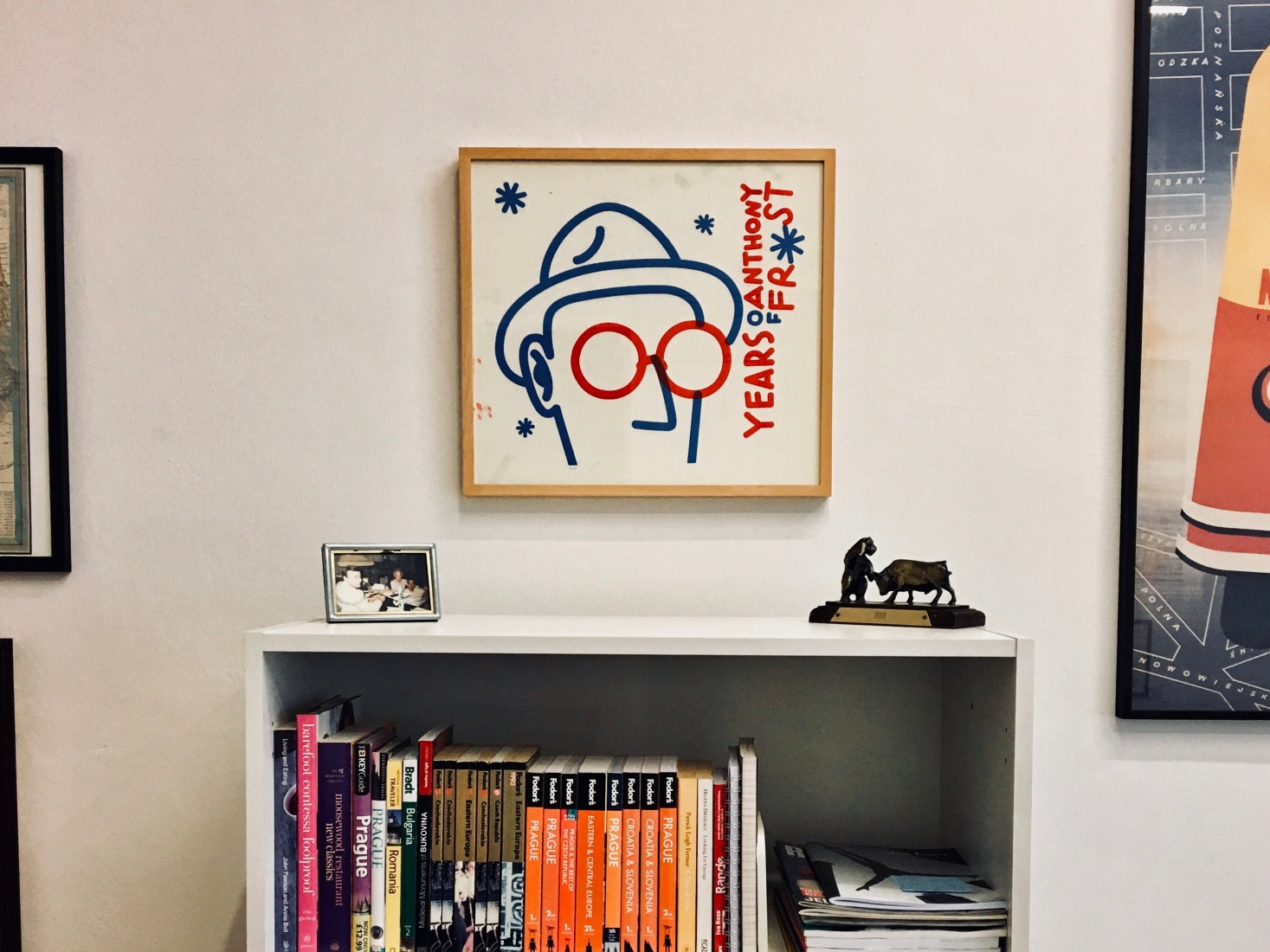 An Anthony Frost poster in Mark Baker's Prague office.